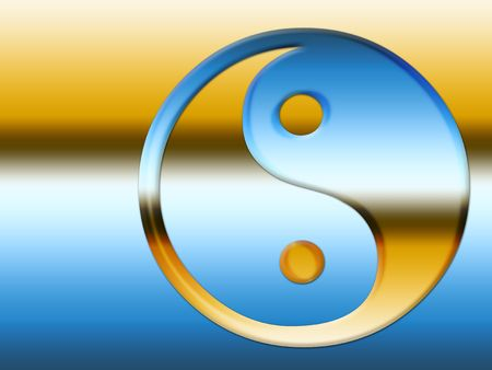 Blue and gold yin and yang symbol illustration.   Stock Photo