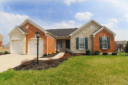 suburban: Suburban Neighborhood Brick and Stone Home - a spring day in the burbs.