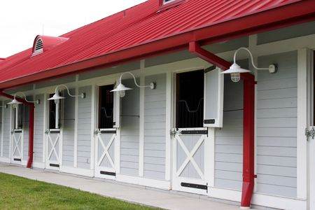 Nice clean horse stables.  Good lighting and color.  Great detail.