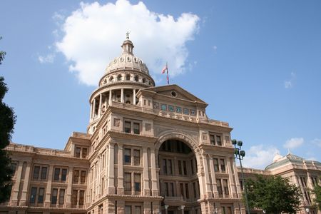 office politics: A nice clean shot of the Texas State Capitol Building in downtown Austin, Texas.