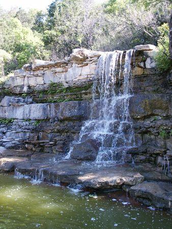 A waterfall at Zilker Park in Austin, Texas.