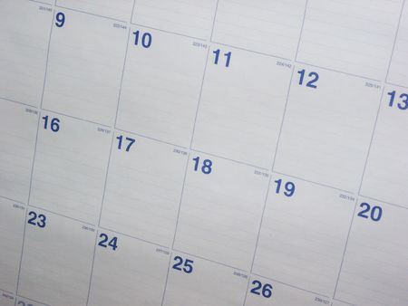 A nice shot of a calendar month. This shot makes a great background. Stock Photo
