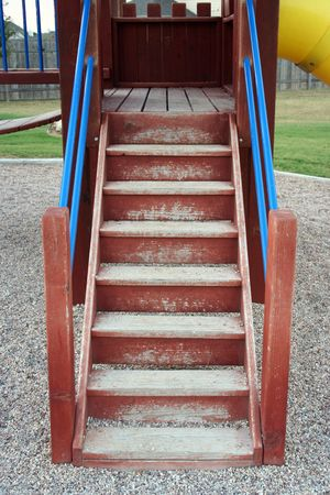 A set of stairs on a playscape at a playground. Stock Photo - 394824