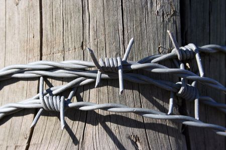 cattle wire wire: A strand of barbed wire wrapped around a fence post.  Wire is fairly new on a cedar post.