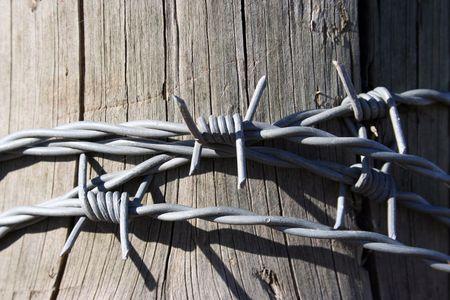 p�rim�tre: Un brin de fil de fer barbel� enroul� autour d'un poteau de cl�ture. Wire est un nouveau venu sur un poste de c�dre.  Banque d'images