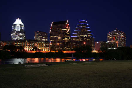 A very pretty night in Austin, Texas.  This shot was taken from across Town Lake downtown.  A very useful image for Austin related content. Stock Photo - 426345