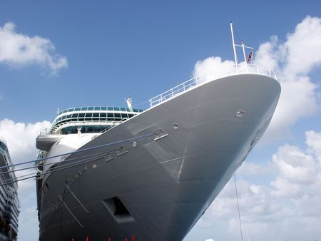 A cruise ship docked at port.