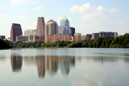 A nice clear shot of downtown Austin, Texas from across Town Lake. Stock Photo