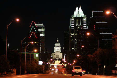 downtown capitol: A nice shot of the Texas State Capitol Building in downtown Austin, Texas at night. Stock Photo