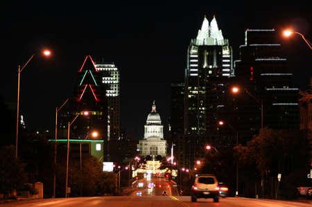 austin: Ein nettes Bild von der Texas State Capitol-Geb�ude in der Innenstadt von Austin, Texas in der Nacht.