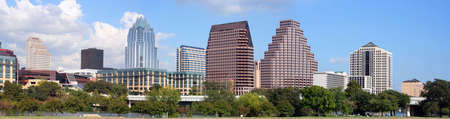 panoramic business: A very pretty day in Austin, Texas.  This shot was taken from across Town Lake downtown.  A very useful image for Austin related content.