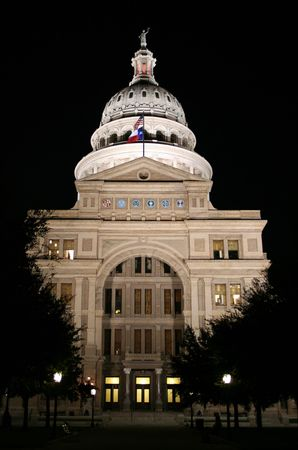 A nice clean shot of the Texas State Capitol Building in downtown Austin, Texas at night. Stock Photo