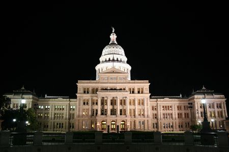 downtown capitol: A nice clean shot of the Texas State Capitol Building in downtown Austin, Texas at night. Stock Photo