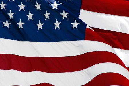 An American flag flaping boldly in the wind. Stock Photo - 733188