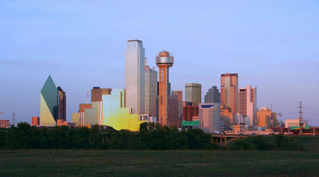 dallas: Downtown Dallas, Texas at dusk.