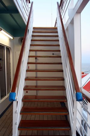 A staircase to the next level on a cruise ship. photo