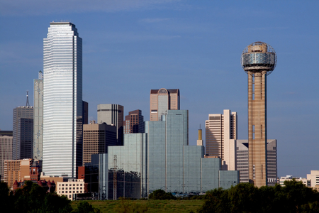 dallas: A section of buildings in the Dallas Texas Skyline. Stock Photo