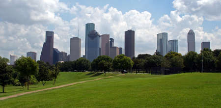 houston: The Houston Texas Skyline on a bright cloudy day. Stock Photo