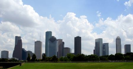 The Houston Texas Skyline on a bright cloudy day. Stock Photo