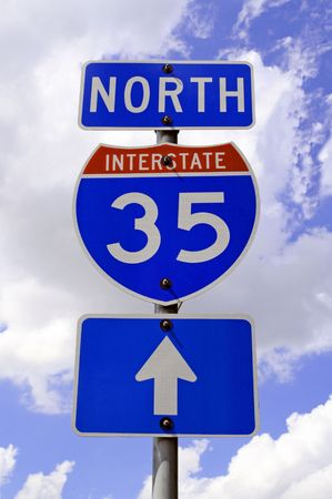 35: A highway 35 road sign in Texas. Stock Photo
