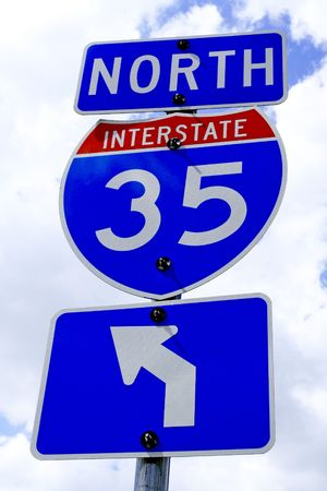A highway 35 road sign in Texas. photo