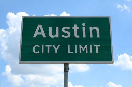 city limit: An Austin City Limit road sign close up.