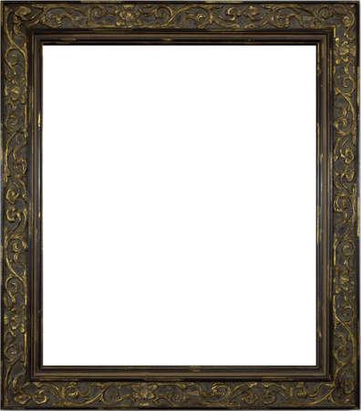 marcos decorados: Foto frontera marco de madera aisladas sobre fondo blanco