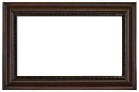 vintage furniture: wooden picture frame border isolated on a white background