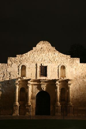 the Alamo lit up at night in San Antonio Texas photo
