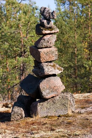 spontaneous: Spontaneous cult construction in a wood in Kareliya Stock Photo