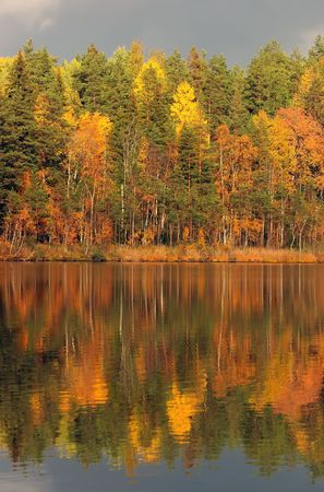 Autumn lake in Kareliya, brightly shined by the sun which has looked out because of clouds Stock Photo - 741071