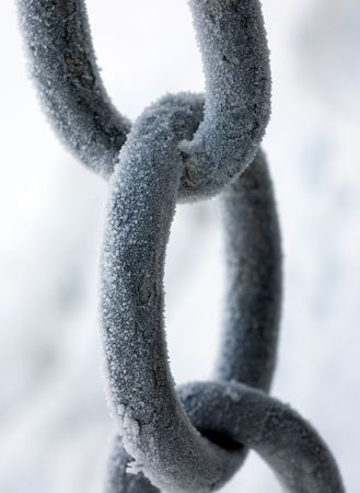 amalgamate: Parts of a chain close up, covered by hoarfrost on a frost
