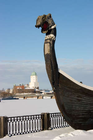 The ancient ship of vikings in Vyborg photo