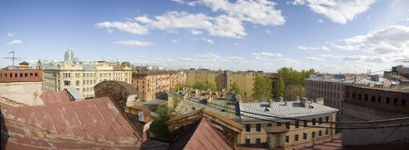 Panorama of historical area of St.-Petersburg from a roof photo