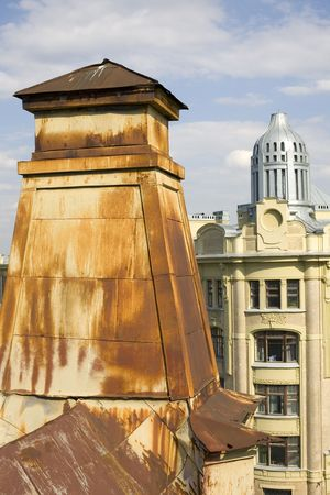 turrets: turrets of old and modern roof