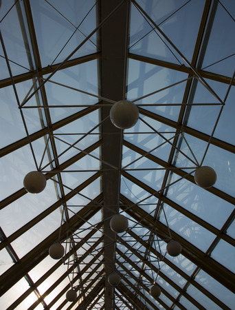glass ceiling: glass ceiling and the lamps of Moscows modern bridge