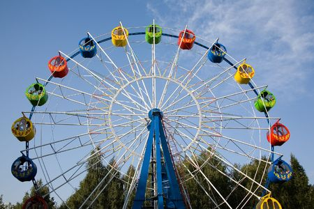 bright ferris wheel in an amusement park