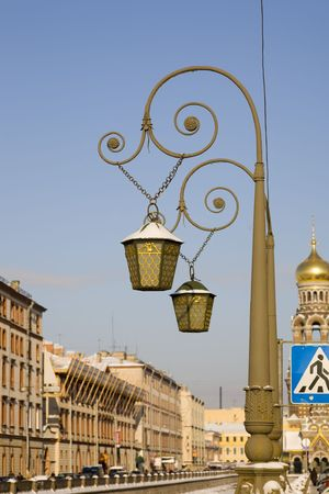 Decorative lanterns in a historical part of St.-Petersburg photo