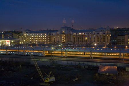 reconstructing: reconstructing Petersburgs railway station at night