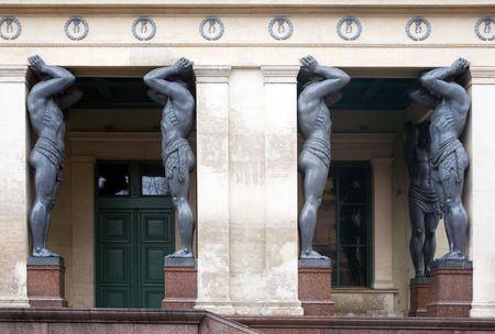 atlantes: Sculptures of atlantes in St.-Petersburg, Russia Stock Photo