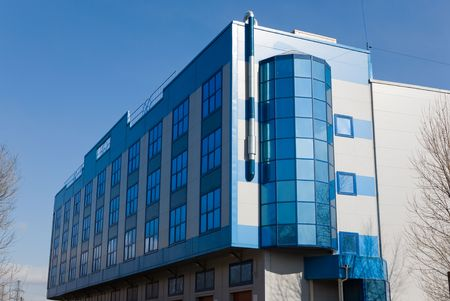 Modern office building in blue tones Stock Photo