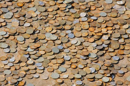 numismatic: Many the Russian coins on a metal surface Stock Photo