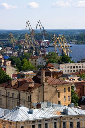 nautical structure: View on seaport of Vyborg from height