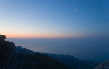 Morning before sunrise in Crimean mountains, Ukraine photo