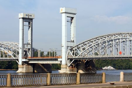 neva: The railway bridge through Neva in St.-Petersburg Stock Photo