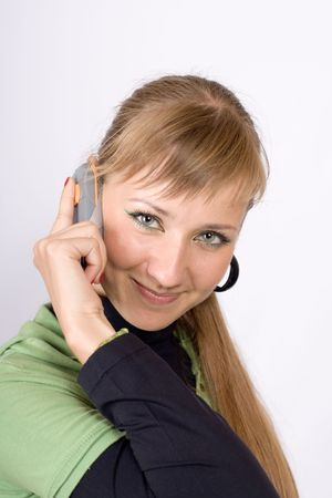 Portrait of the girl speaking by phone Stock Photo - 3519150