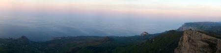 Panorama of coast of Black sea in Crimea at a sunrise photo
