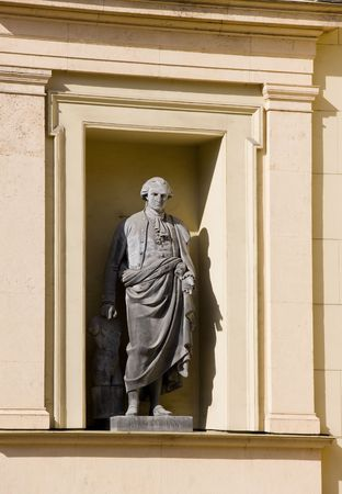 vestment: Statue of Ancient German historian of art near the New Hermitage Stock Photo