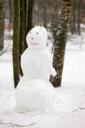 Snowman with a nose and hair of twigs in winter park Stock Photo - 4014479