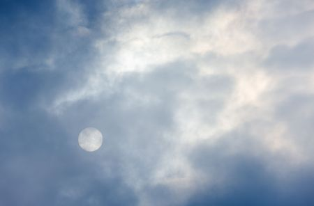The sun behind clouds in cloudy day photo